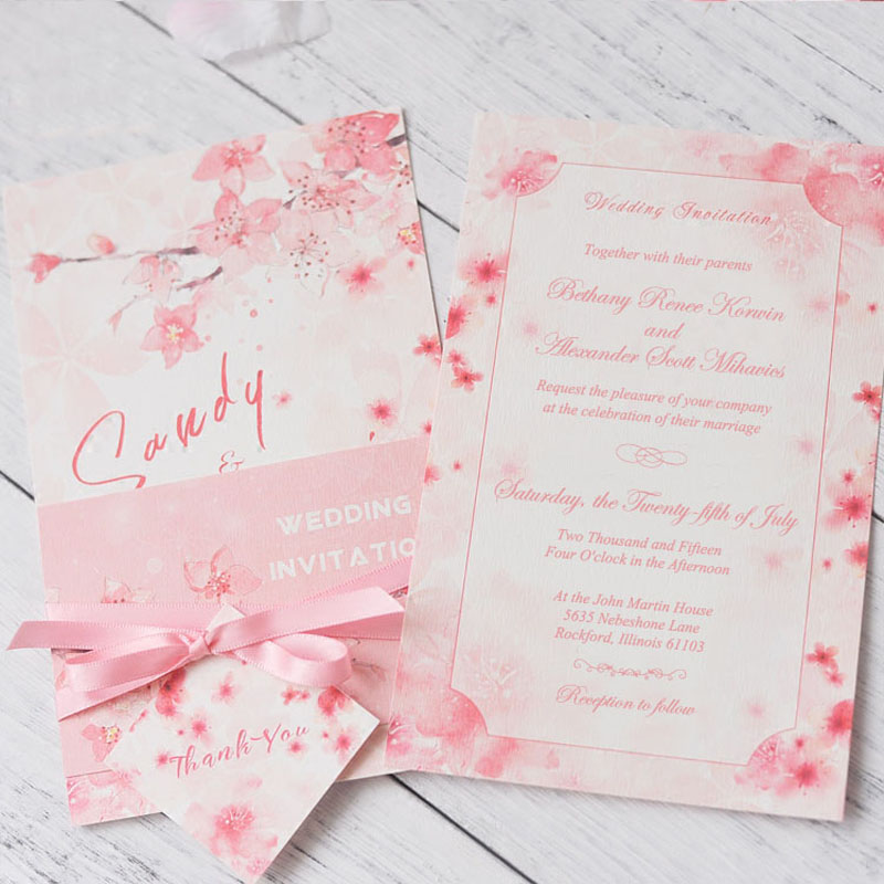 Sakura Pink Wedding Invitations