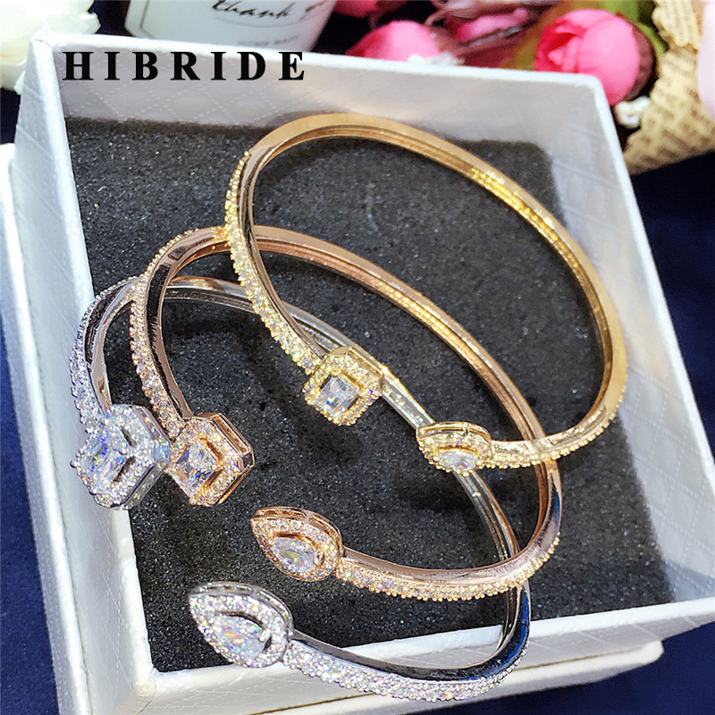 HIBRIDE Luxury AAA Cubic Zircon Pave Open Cuff Bangles&Bracelets Baguette Gold-Color Women Bangle Gifts Nigeria bijoux B-118 gold open cuff bracelets for women bijoux jewelry