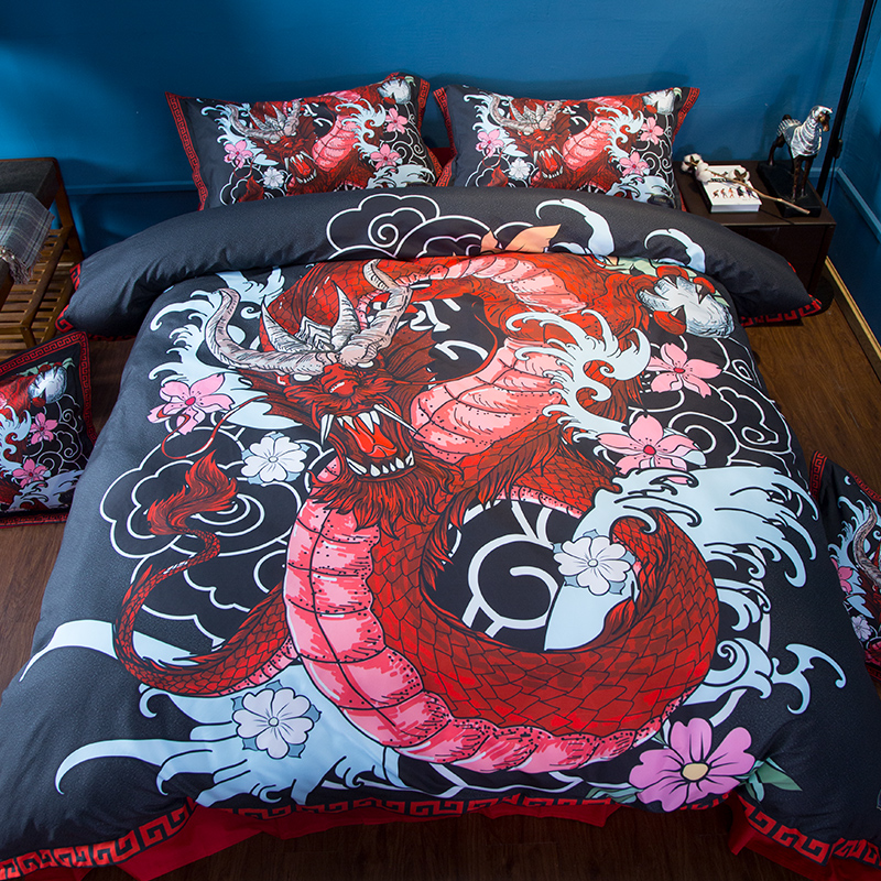 Home Textile Dragon Bedding Set US Twin Full Queen King Super King Size red Black pillowcase
