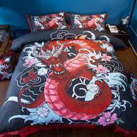 บ้านสิ่งทอมังกรชุดเครื่องนอน US Twin Full Queen King Super King ขนาดสีแดงสีดำปลอกหมอนห้องนอน Quilt ชุดผ้าปู