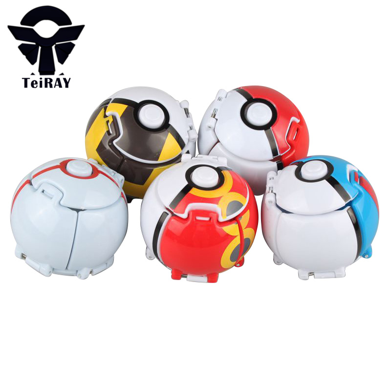 Pokeball With Random Figures Pikachu Inside Throw Automatically Bounce Japan Anime 7Cm Red Pokebolas Pvc Action Figure Kids Toys landscape with figures givernyрепродукции моне 30 x 30см