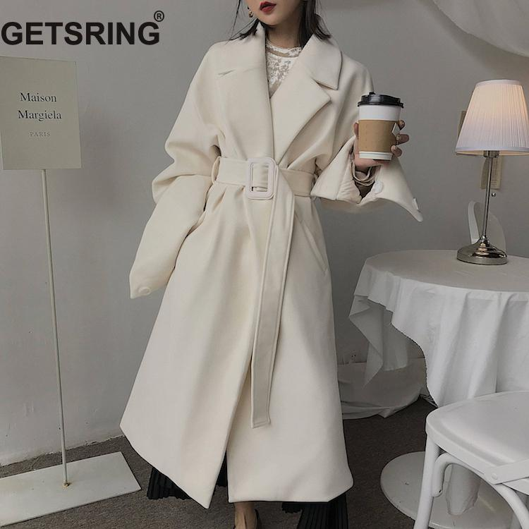 GETSRING Women Trench Coat Lace Up Long Sleeve Windbreaker All Match Female Overcoat Solid Loose Long Coat Autumn Winter Black