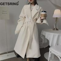 GETSRING Women Trench Coat Lace Up Long Sleeve Windbreaker All Match Female Overcoat Solid Loose Long Coat Autumn Winter Black