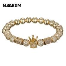 Micro Pave CZ Zirconia Gold King Crown Ball & Cuoid Charm Bracelet Elastic Hip Hop Gold Copper Bead Bracelet Women Mens Jewelry цена