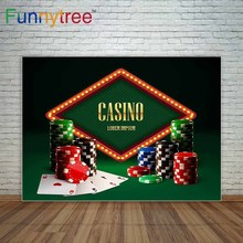 Funnytree casino chips lamp vintage banner and cards decoration background for photo