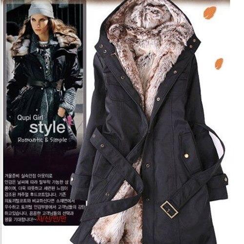 ГОРЯЧИХ Женщин Теплое Зимнее Пальто Из Искусственного Меха Линг 2 в 1 Гуд Меха Куртка Шинель Длинные Куртки