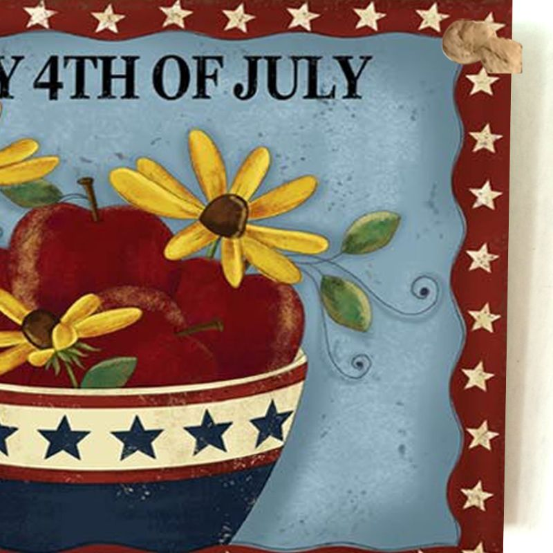 Image 4 - Vintage Wooden Hanging Plaque Happy 4th Of July Flower Sign Board Wall Door Home Decoration Independence Day Party Gift-in Plaques & Signs from Home & Garden