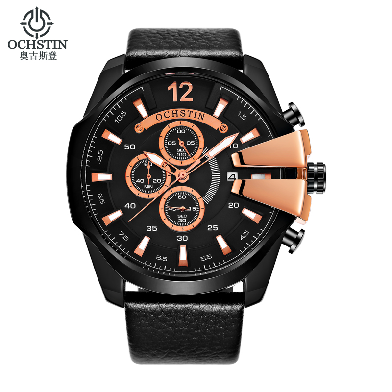 Golden Men Watches OCHSTIN Brand Luxury Leather Strap Quartz Watch Men Military Sport Waterproof Wristwatch Relogio Masculino chenxi men watch calendar quartz wristwatch chronograph leather strap waterproof men s sport watches gifts relogio masculino