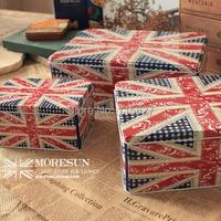 Spedizione gratuita! formato jumbo metallo contenitore per alimenti disegno della bandiera britannica ferro storage case 3 pz/set cookie & cake storage box gift box