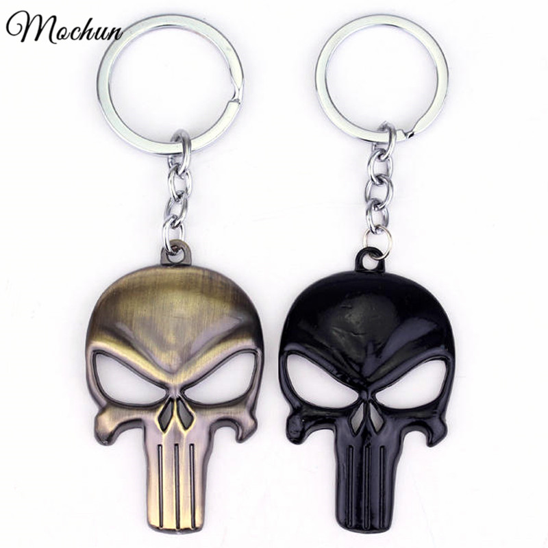 MQCHUN Marvel The Punisher Skull Metal Keychain chaveiros llaveros Keyring For Car Key Chain Ring Pendant llaveros mujer hombre все цены