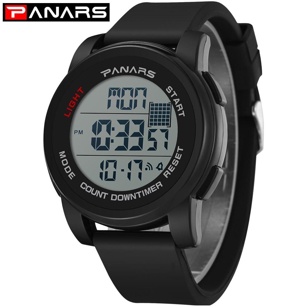 Trustful Mens Brand-name Mens Solar Alarm Digital Led 50m Watch Waterproof Mens Watch Dive Watch Military Analog Intelligence Watches