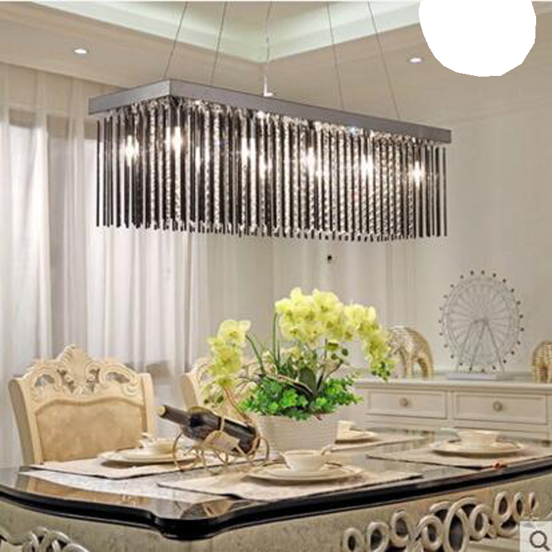 Crystal lamp rectangular dining room chandelier three heads Dining table lamp led dining room chandelier modern minimalist lamps creative dining room three modern minimalist 1 3 heads lamps fashion glass pendant light dining room led lamp lighting