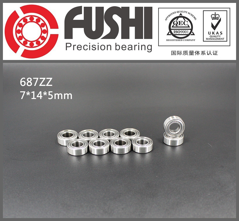 687ZZ Bearing ABEC-1 10PCS 7x14x5 MM Miniature 687Z Ball Bearings 618/7ZZ 6903zz bearing abec 1 10pcs 17x30x7 mm thin section 6903 zz ball bearings 6903z 61903 z