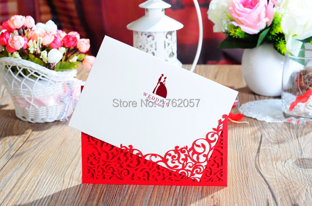 Gold Red Wedding Invitation With Blank Paper Inside Invitations Card 25pcs