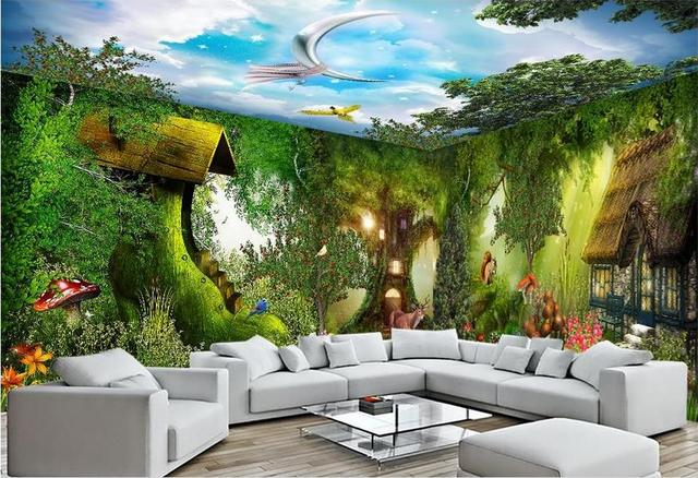 Custom 3d ceiling wall murals wallpaper forest cabin whole house backdrop non woven 3d wallpaper