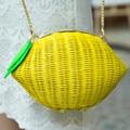 2017 mujeres del bolso del verano bolsa de playa bolsa de paja niñas lemon fruit mini bolsas de hombro ocasional de la novedad del partido de la boda del partido femenino