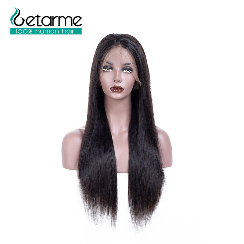 Straight 360 Lace Frontal Human Hair Wigs 100% human hair With Baby Hair Brazilian Pre-Plucked Natural Black Non-Remy Getarme