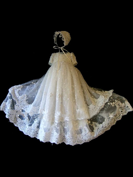 Baby One Hundred Days Birthday Party Children Dress 0-2 Years Old Baby Custom White Lace Tulle Cute Long Dress недорго, оригинальная цена