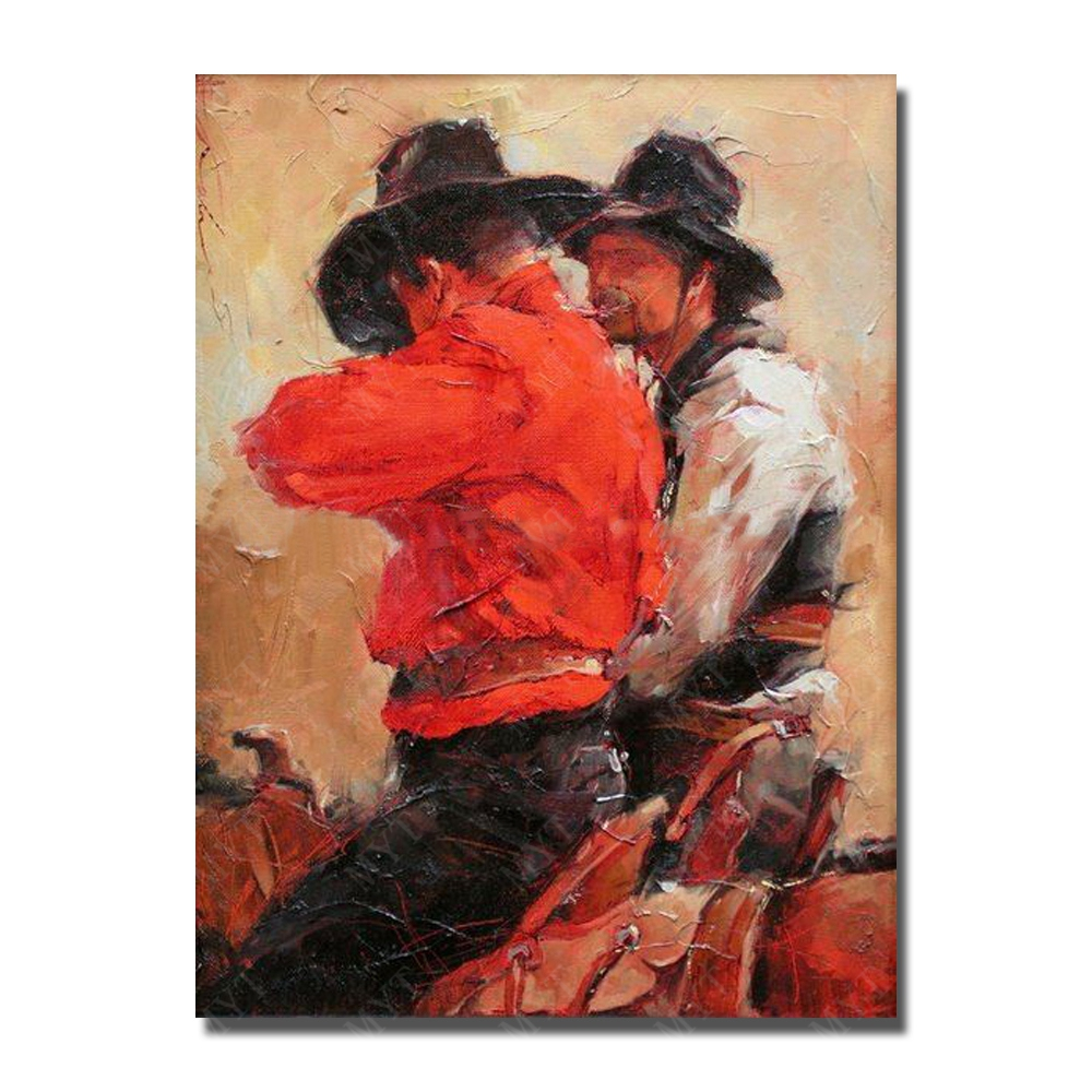 Handmade oil painting picture modern male figure oil painting west cowboy easy oil painting pictures