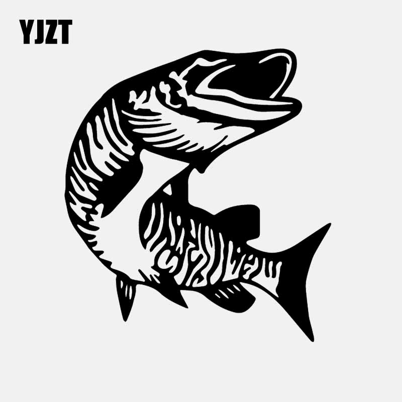 YJZT 14.4CM*15.8CM Muskie Fish Car Sticker Fishing Car Window Vinyl Decal Black/Silver C24-0902