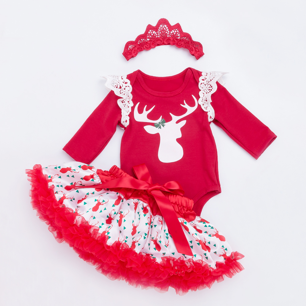YK Loving Printed Baby Christmas Girls Clothing Sets Party Costumes 2017 New Style Soft High Quality Girls Clothes Xmas Skirts in Clothing Sets from Mother Kids
