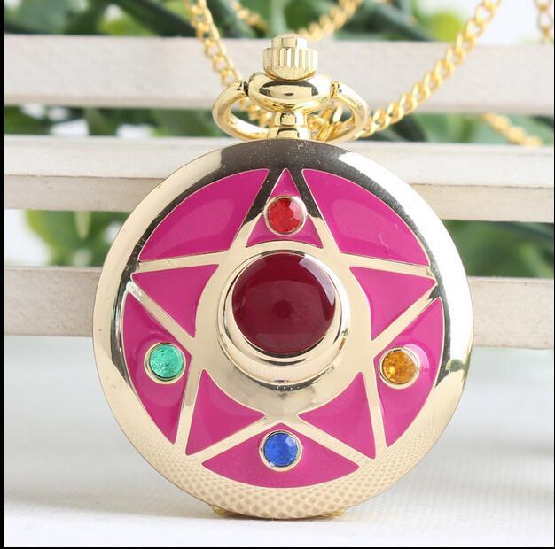 Watches Diplomatic Wholesale And Mixed With 10 Pcs/lot Sailor Moon Magic Card Girl Sakura Changed Sakura Woman And Girl Necklace Pocket Watches High Resilience