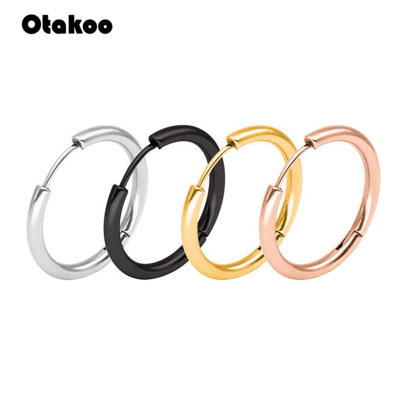 Otakoo 1 Pair Small Hoop Earrings Silver Stainless Steel Circle Hoop Earring For Women Men Ear Ring Clip Huggie Earrings 10-20mm