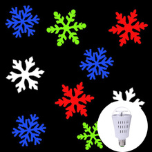AC E27 4W Mini LED Snowflake Projector Light Bulb Home Indoor Outdoor Decoration DJ Disco Stage Lamp Auto Rotating Christmas RGB