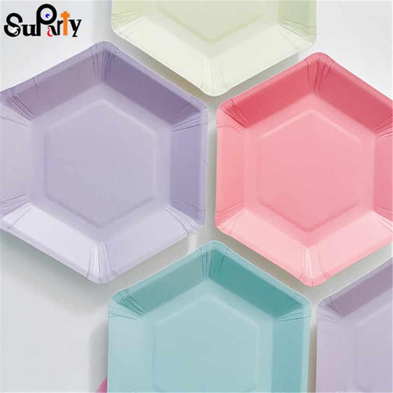 12 pçs pastel geo placas de papel pequeno rosa hortelã azul geometricparty doces pratos festa de aniversário casamento hexagonal utensílios de mesa