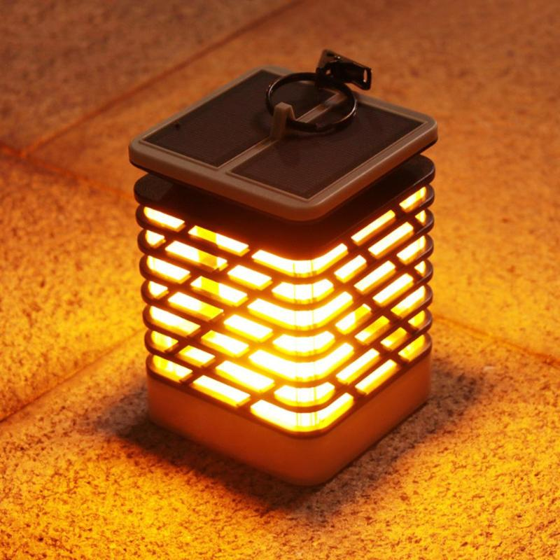 Waterproof LED Solar Lamp Flickering Smokeless Flameless Landscape Flame Lamp Candle Hanging Lantern Garden Camping Light sylvan tall candle lantern