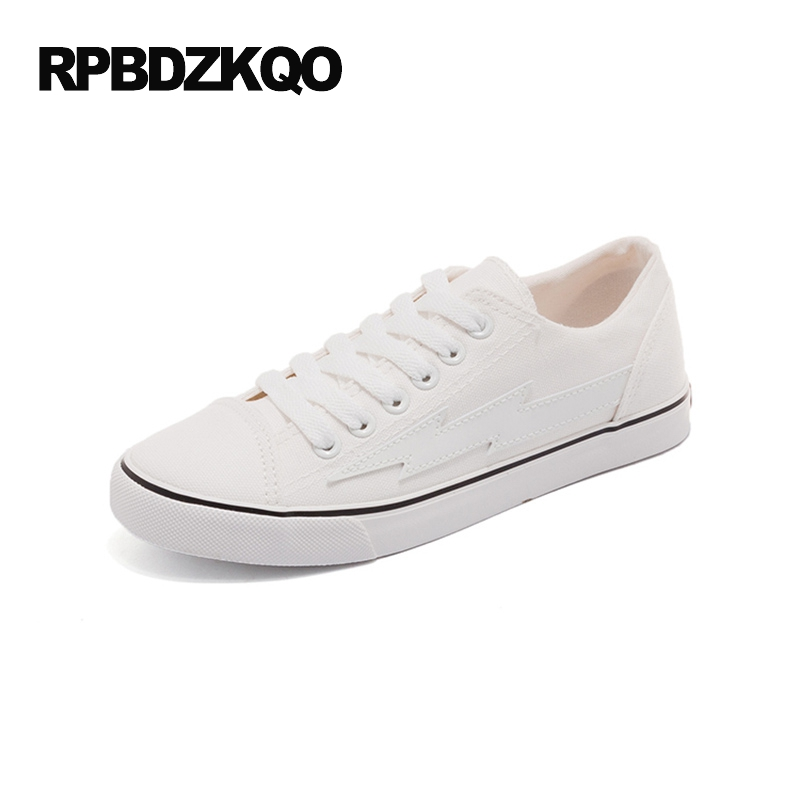 Flats Lace Up Round Toe Sneakers Casual White Women Plain Canvas Shoes Fitness Ladies Korean 2017 Rubber Sole Platform цена