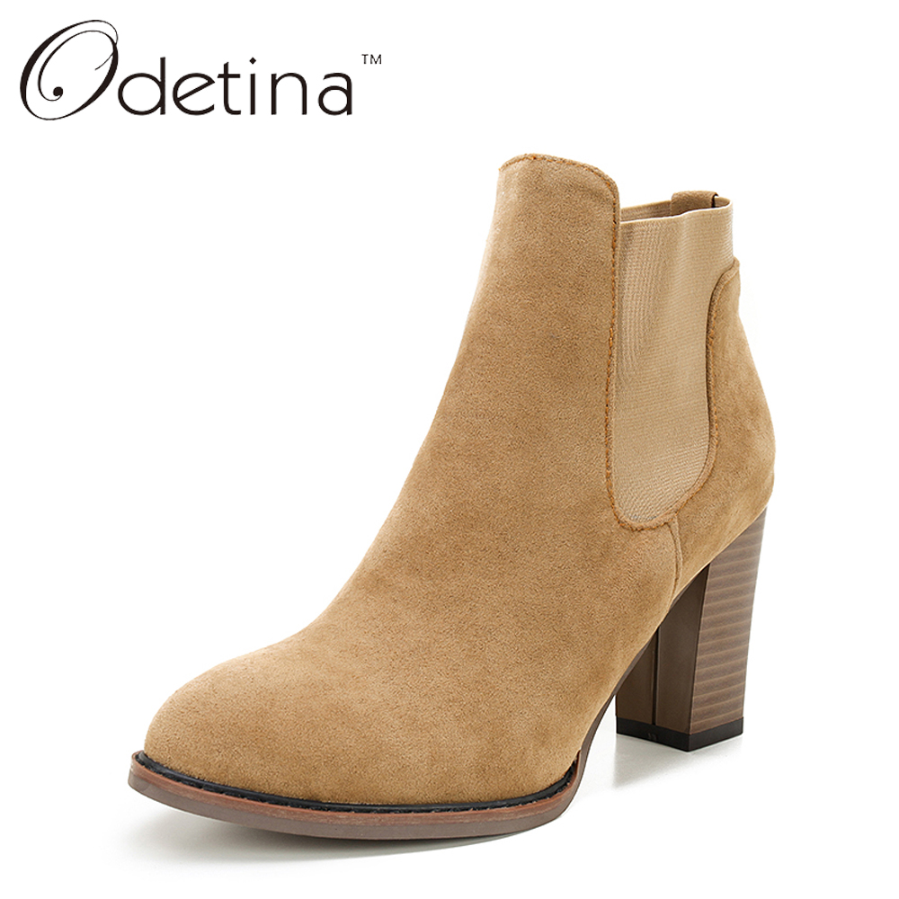 ФОТО Odetina Suede Chelsea Boots Women Large Size Sexy High Heel Ankle Boots Pointed Toe Women Boots Winter 2016 Autumn Shoes Fashion