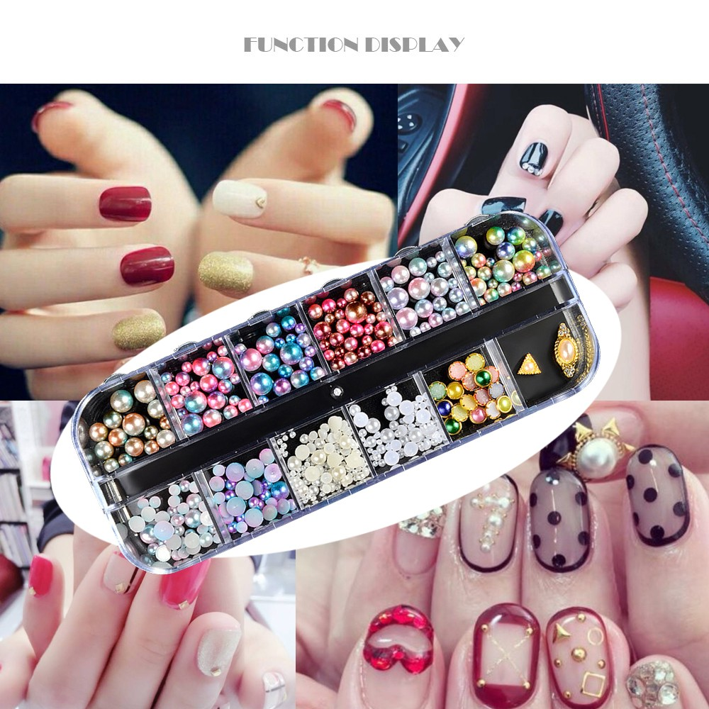 12 Styles Multicolor Manual DIY Fashion Pearl Nails Decoration Multiple  Specifications Nail Art Tool-in Rhinestones & Decorations from Beauty &  Health on ...