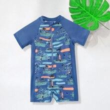 Цельный купальный костюм для мальчиков, детский купальный костюм для серфинга с плоским углом, купальник для отдыха для мальчиков