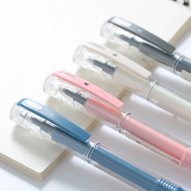 Mini Pocket Quality Office Writing Gel Ink Pen School Supplies Stationery 0.5mm Blue Black Ink 4 Colors Pink White Blue Gray
