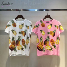2017 New Fashion Women Pineapple Print O_neck Cotton T shirt Short Sleeve Loose Novelty Spring Hot Sale Female Slim Tops