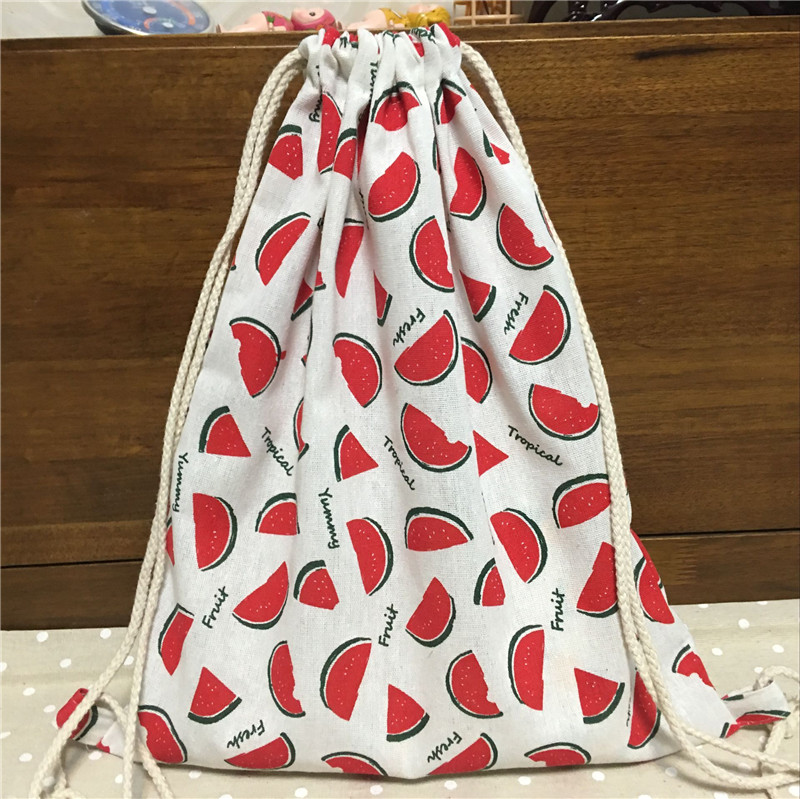 YILE Cotton Linen Drawstring Travel Backpack Student Book Bag Print Watermelon Slice 17428-1YILE Cotton Linen Drawstring Travel Backpack Student Book Bag Print Watermelon Slice 17428-1