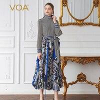 VOA горошек Шелковый взлетно посадочной полосы платье Для женщин макси длинное платье Высокая талия плюс Размеры оборками африканских печат