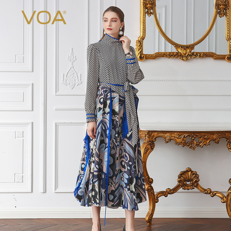 VOA Polka Dot Silk Runway Dress Women Maxi Long Dress High Waist Plus Size Ruffles African Printed Belt Clothes Casual ALA02801