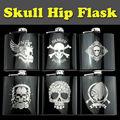 Poison Skull Design Metal Stainless Steel Drinking Gift 6 OZ Ounces Hip Flask For Alcohol Whiskey Liquor Portable Flagon Funnel