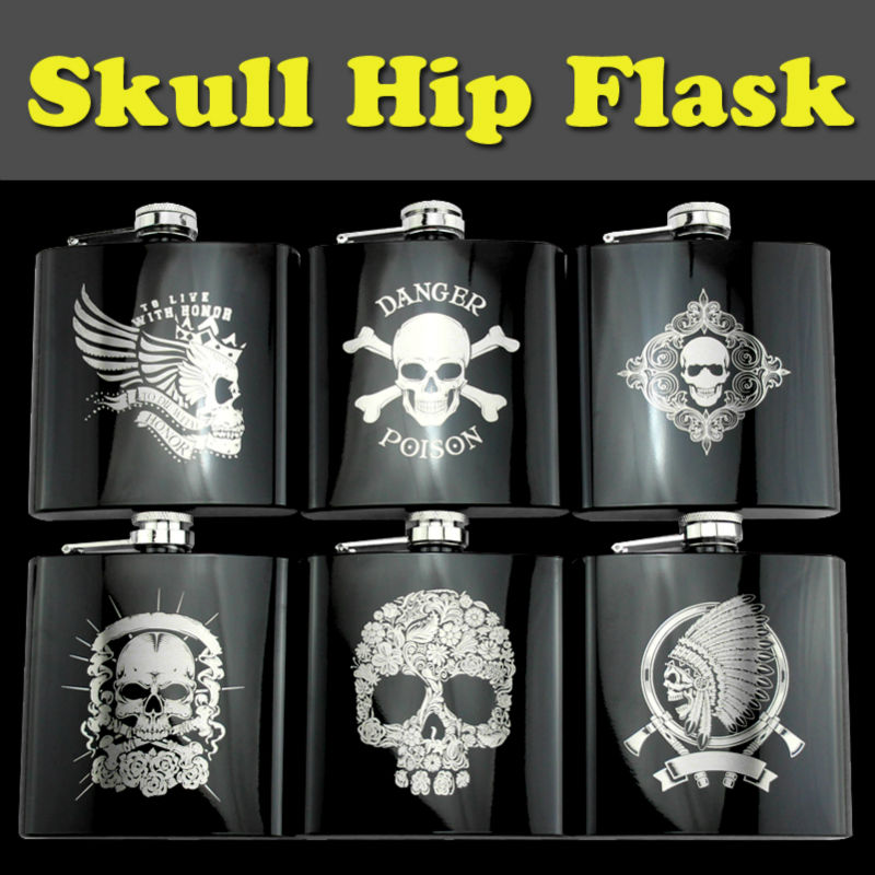 Poison Skull Design Metal <font><b>Stainless</b></font> <font><b>Steel</b></font> Drinking Gift 6 OZ Ounces <font><b>Hip</b></font> <font><b>Flask</b></font> For Alcohol <font><b>Whiskey</b></font> <font><b>Liquor</b></font> Portable <font><b>Flagon</b></font> Funnel