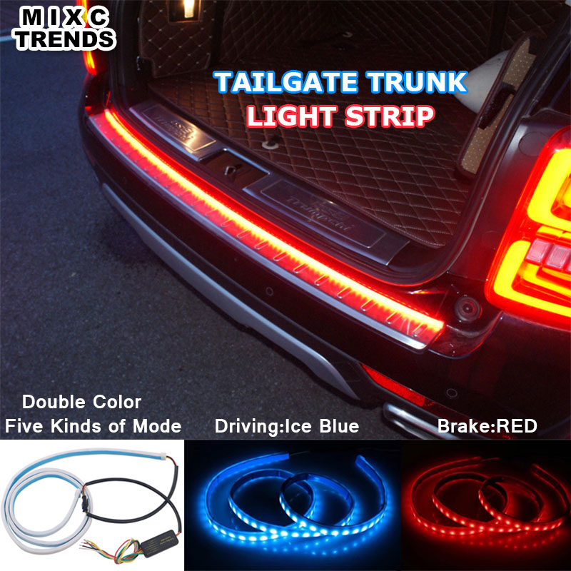 Ice Blue Red Flexible LED Strip Flowing Rear Trunk <font><b>Tail</b></font> Light Dynamic Streamer Brake Turn Signal Reverse Warning Flash Lights