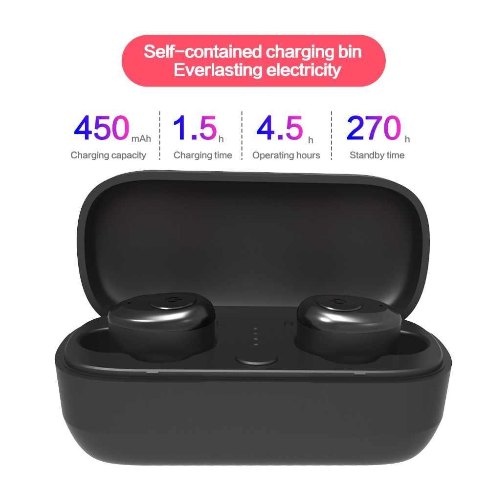 TWS беспроводные наушники Bluetooth 5,0 истинная гарнитура Водонепроницаемый с зарядным устройством и Микрофоном Hi-Fi стерео звук двусторонний для iPhone