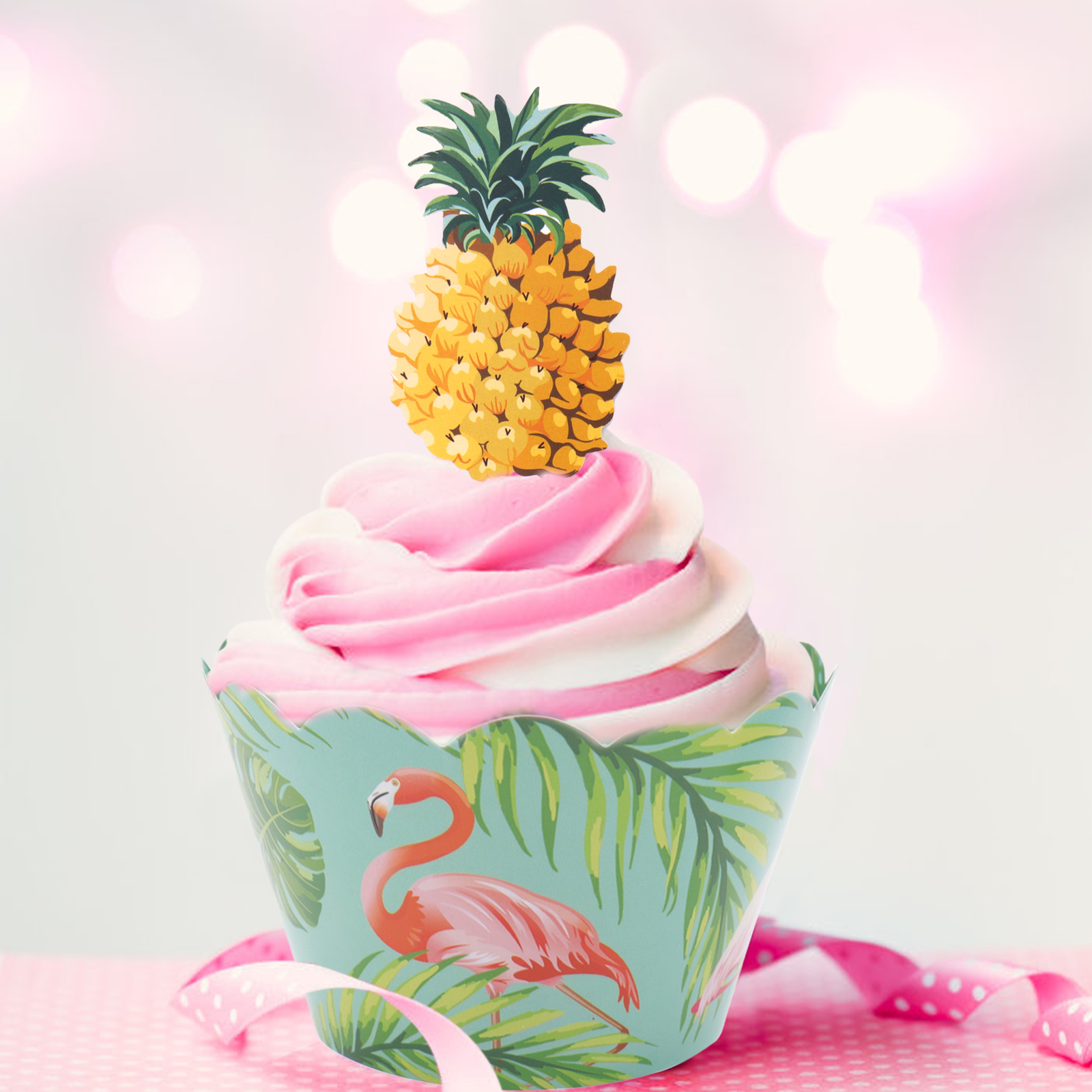 24pcs Set Paper Cupcake Wrappers Flamingo Pineapple Cake Toppers Diy Party Baby Shower Happy Birthday Decorations Party Supplies Cake Decorating Supplies Aliexpress