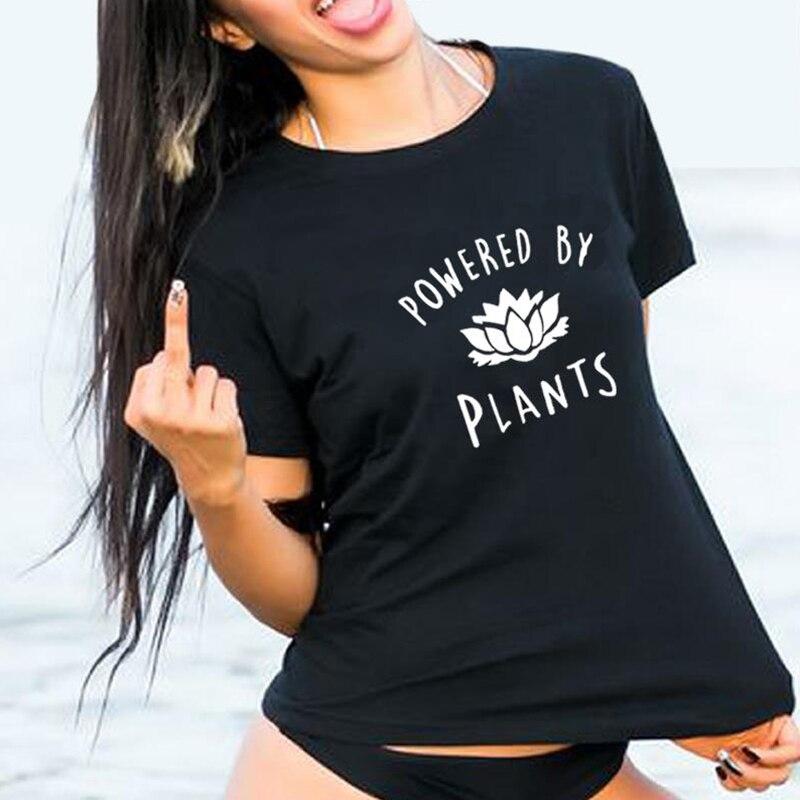 0ac3fa3eed04 2019 Vegetarian Vegan POWERED BY PLANTS T Shirt Women Harajuku Tumblr Cute  Tumblr Femme Funny Female T Shirt Tops Drop Ship Tees