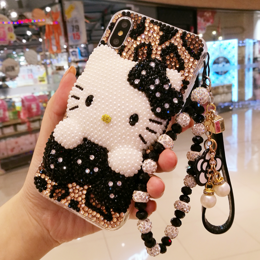 For iphone X 3D Bling Crystal cover for iphone 7 /8 plus Pearl KT cat DIY phone Case For iphone xsmax 6 6sPlus Luxury fundas|cover for iphone|case for iphone|phone cases - title=