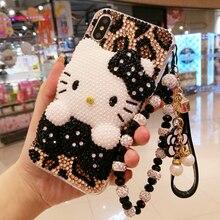 Per iphone X 3D Bling di Cristallo di copertura per iphone 7/8 più Perla del gatto di KT FAI DA TE Cassa del telefono Per iphone xsmax 6 6sPlus di Lusso fundas