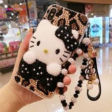 สำหรับ iphone X 3D Bling คริสตัลสำหรับ iphone 7/8 plus Pearl KT cat DIY โทรศัพท์สำหรับ iphone xsmax 6 6sPlus Luxury fundas