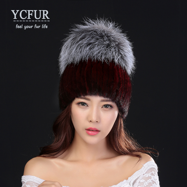 YCFUR New Arrival Women's Winter Hats Fur Knit Genuine Mink Fur Beanies With Silver Fox Fur Trims Knit Mink Caps For Ladies