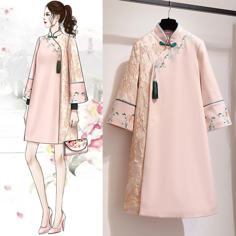 Improvement Woollen Long Robe Cheongsam Lady China National Style Gown Retro Improved Elegant Cheongsam Autumn Winter Warm Dress